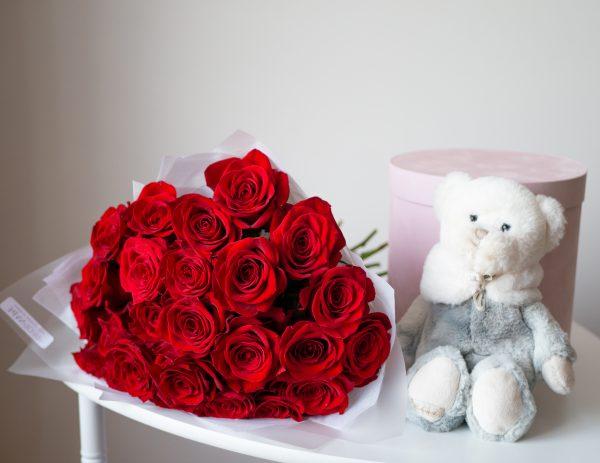 Монобукет из красных роз монобукет, роза