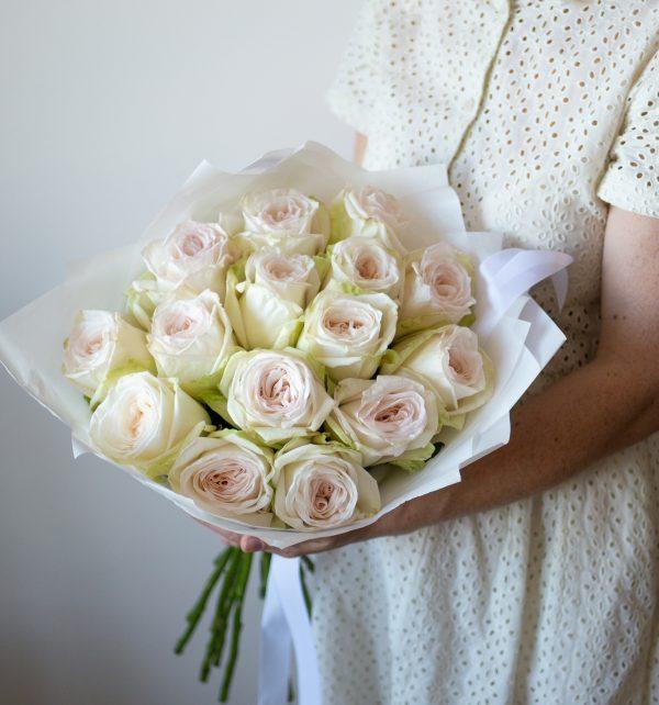 Монобукет Уайт O'хара монобукет, пионовидная роза, уайт о'хара